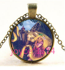 Vintage Princess Cabochon bronze Glass Chain Pendant Necklace #3547
