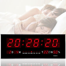 Digital Large Big LED Display Wall Desk Clock With Calendar Temperature Humidity