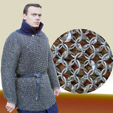 ALUMINIUM XTRA LARGE 9mm 16 G ROUND RIVETED CHAIN MAIL SHIRT MEDIEVAL LONG SLEVE