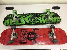 "Lot of 2 DarkStar 31"" x 8"" Red and Green Skateboards"