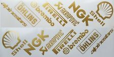 Motorcycle belly pan decals  Sponsors x 14 angled gold other colours available