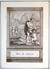 Gravure Etching Kupferstich Bible Ancien Testament Mort de Samson