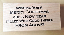 Mounted Rubber Stamp, Stamp, Christmas Saying, Merry Christmas & Happy New Year