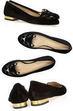 Charlotte Olympia kitty embroidered velvet slippers flats Size 41 ** HARRODS**