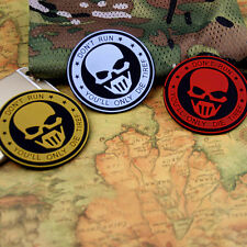 3 PC SKULL Dont Run TACTICAL AIRSOFT PAINTBALL RUBBER 3D PVC MORALE PATCH