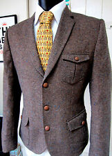 Asos tweed effect brown with blue fleck safari style Blazer Jacket  UK 40 EU 50