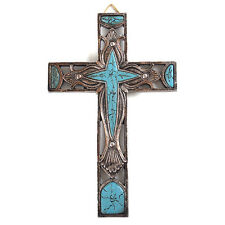 Western Style Wall Cross Hollow Floral Carving Turquoise Stone Mental Texture