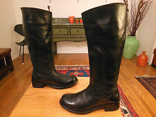 Vtg FRYE Women's Black Leather 'Elena Pull On' Riding Fashion Boots 8B