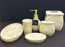 NEW NICOLE MILLER 6 PC SET BEIGE GOLD RESIN SOAP DISPENSER+DISH+TUMBLER+TRASH+2