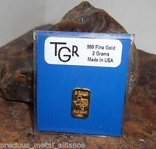 GOLD 2 GRAMS GR G 24K PURE TGR PREMIUM BULLION BAR 999.9 FINE CERTIFIED INGOT* !