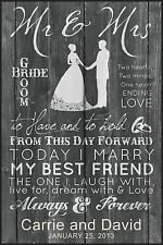 "Personalized Laser Engraved ""MR & MRS"" Plaque, Great Wedding Gift! 12"" x 18"""