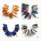 Mixed Color Titanium Crystal Agate Druzy Quartz Geode Stone Pendant Bead Set