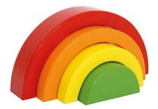 NEW BABY TODDLER 4 PIECE PAINTED  WOODEN RAINBOW BUILDING BLOCKS LEGLER 3415