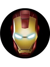 PERSONALISED IRON MAN EDIBLE BIRTHDAY CAKE TOPPER  7.5-INCHES ROUND ICING SHEET
