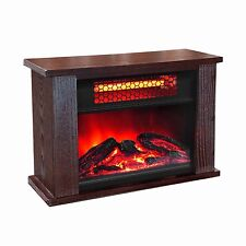 LifePro Lifesmart 750 Watt Infrared Quartz Mini Wood Fireplace Space Heater