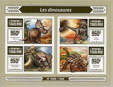 Togo 2015 MNH Dinosaurs 4v M/S Troodon Ankylosaurus Pachyrhinosaurus