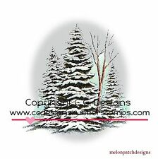 NEW DoveArt WINTER PINE GROVE Winer Tree Cling Mount Rubber Stamp CC DESIGNS
