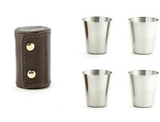 Kikkerland Stainless Steel Shot Glass, set of 4 with brown leather case BA59