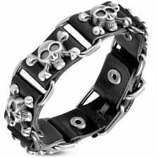 Genuine Black Leather Pirate Skull Crossbones Stud Belt Buckle Biker Bracelet