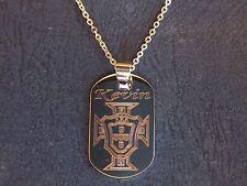 pendentif acier personnalisé gravé,drapeau portugal + chaine + prénom au choix