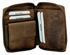 STARHIDE MENS ZIP AROUND DISTRESSED HUNTER LEATHER COIN POCKET WALLET 720-BROWN