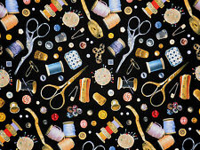 A STITCH IN TIME SEWING QUILTING THEME NOTION ELIZABETH STUDIO COTTON FABRIC BTY
