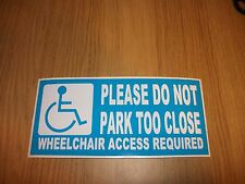WHEELCHAIR ACCESS REQUIRED PARKING DISABLED CAR STICKER WHITE AND BLUE