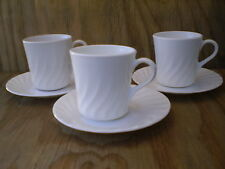 Corelle Dishes Enhancements White Swirl Cups & Saucers 3 Sets