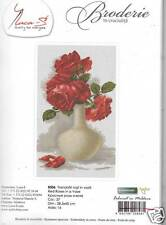 RED ROSES IN A VASE  NEW EMBROIDERY/CROSS STITCH  BRODERIE KIT