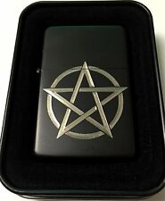 Pentagram Black Gift Engraved Cigarette Lighter Biker Gift LEN-0117