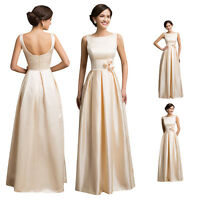 Long NEW Vintage 50s Satin Bridesmaid Party Evening Ball Gown Prom Dress Apricot