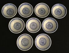9 Blue And White Porcelain Imari Small Sauce Or Rice Bowls - Made In China-NICE!