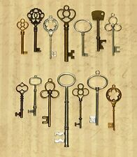 14 Large Skeleton Keys Lot Antique Vtg Old Look Ornate Victorian Gothic Fantasy