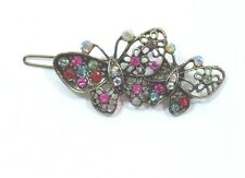 Bejeweled Butterfly Hair barrette antiqued Gold tone Rainbow Aurora Borealis