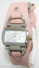 NEW-FOSSIL PINK,ROSE LEATHER BAND+SILVER TONE S/STEEL DIAL WATCH BQ1118