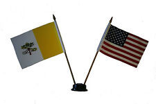 "USA & VATICAN CITY 4"" X  6"" DOUBLE STICK FLAG WITH BLACK STAND ON 10"" PLAS. POLE"