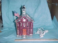 Dept 56 Snow Village New School House #50377 1984-1986 with flag, bell & light