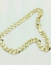 "10k Solid Yellow Gold Cuban Curb Bracelet Chain 8"" 4.7mm"