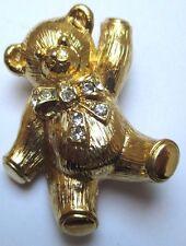 broche pendentif nounours en relief cristaux diamant couleur or poli signé 110