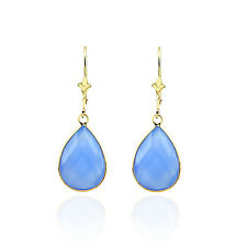14K Gold Earrings With Blue Onyx Gemstones Pear Shaped And Faceted