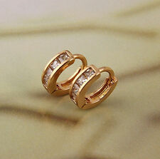18 k Gold Plated Jewellery Small Baby Girls Hoops with Zircons Earrings E451