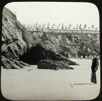 21 Lantern Glass Slide Newquay Beach Bathing Machines Cornwall Photo pre1920s .