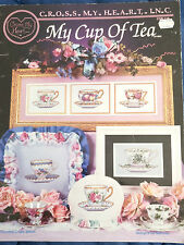 My Cup of Tea cross stitch chart embroidery Cross My Heart leaflet teacups