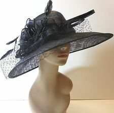 New Church Kentucky Derby Sinamay Wide Brim Dress Hat 3042 Black