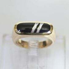 RARE HEAVY KABANA SOLID 14K GOLD BLACK ONYX w MOP RING, 7.5 gms, size 6.5, EXC!