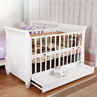 Color Life 3in1 Wood Baby Cot Crib Toddler Bed Pine Wood Adjustable Height White