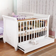 Emall Life 3in1 Wood Baby Cot Crib Toddler Bed Pine Wood Adjustable Height White
