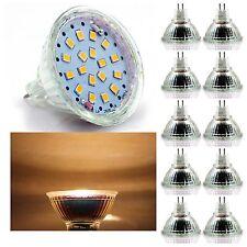 10er 5,5W MR16 GU5,3 LED Spot Stahler Einbauleuchten Lampe Birne warmweiß 12V DC