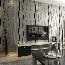 3D Stripe Curve Wall Paper Non-Woven Wallpaper Roll Bedroom TV Background Decor