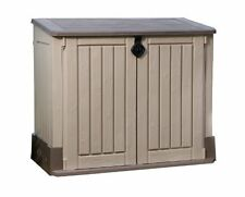 BRAND NEW! Keter Woodland Storage Shed with Sturdy Floor Panel, (Beige/Brown)